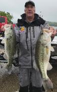 Rich Lewis with a couple of nice bass including an 8.14 to take 1st place and big bass at Lake Ray Roberts.